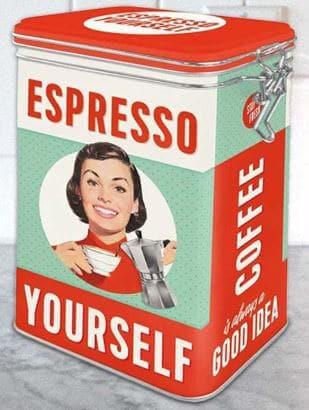 Retro plåtburk till kaffe - snygg inredningsdetalj