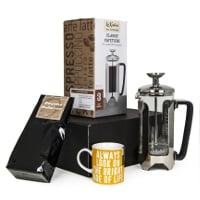 Presentlåda - Kaffe, pressobryggare och kopp